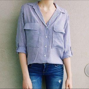 Zara striped button down blouse!!